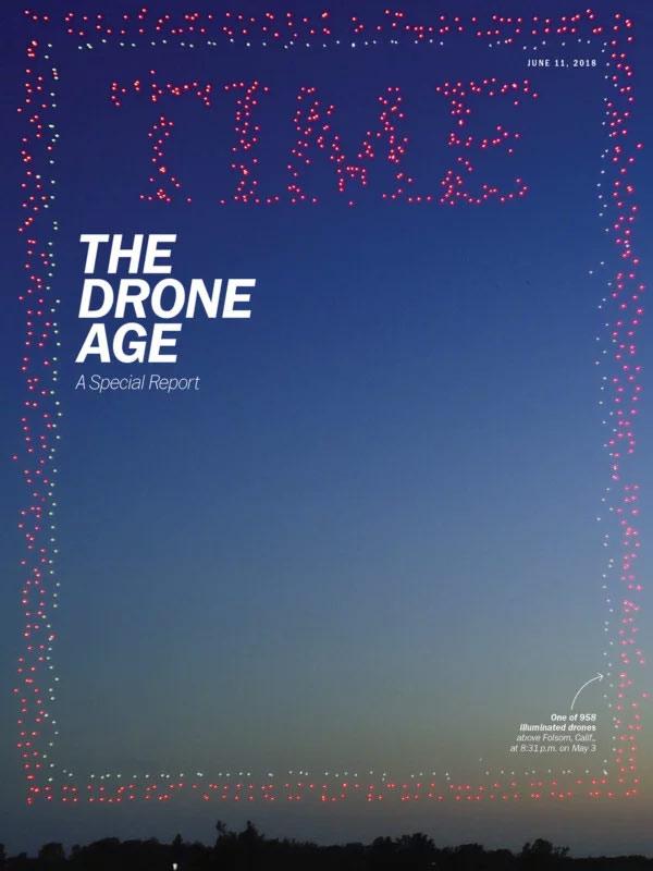 Utilizan 958 drones para hacer la portada de la revista TIME