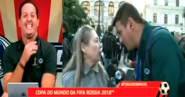 Una señora rusa se pone a hablar con un reportero brasileño que no tiene ni idea de ruso