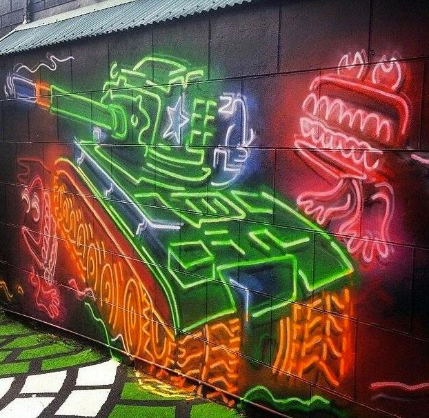 Este artista hace graffitis que parecen neones
