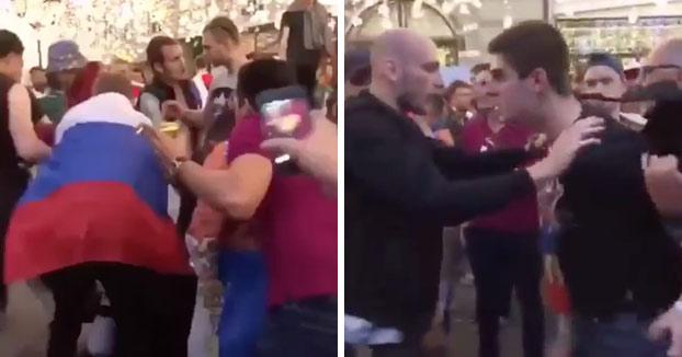 Un mexicano intenta calmar una pelea entre dos rusos al grito de ''Trankilovsky!, tranquilovsky!''