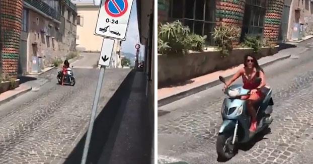 Aída Nízar se empotra con una moto mientras hacía un vídeo para Instagram