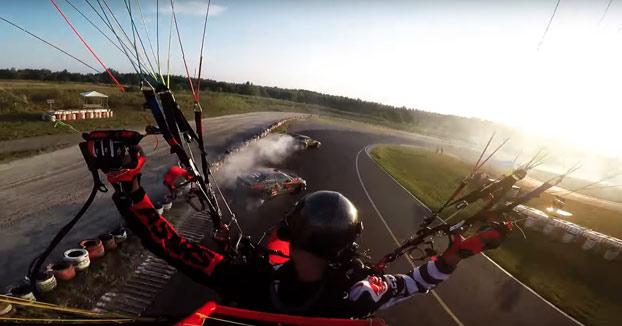 Drifting grabado desde un paramotor