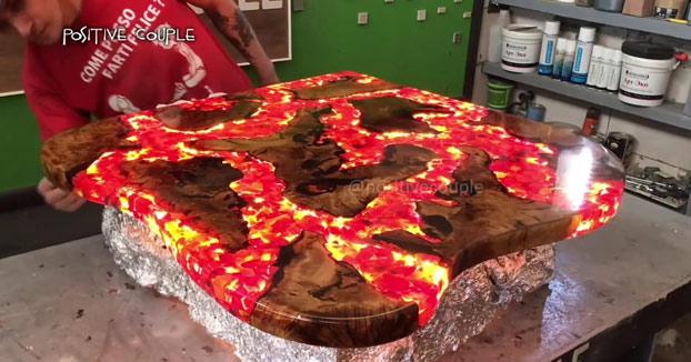 El paso a paso para crear una mesa con efectos de lava