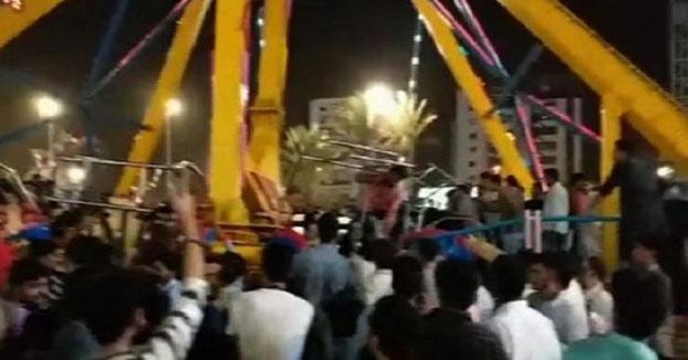 Accidente en un parque de Pakistán: La atracción ''The Hammer'' se descuelga cuando toma altura