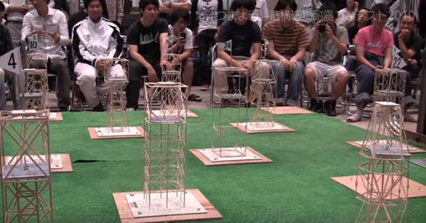 El concurso escolar en Japón de construcción de edificios contra terremotos