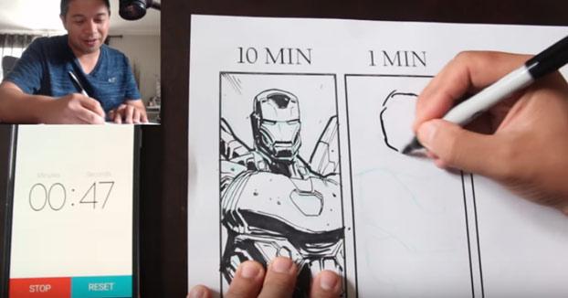 La diferencia de dibujar a Iron Man en 10 minutos, 1 minuto y 10 segundos