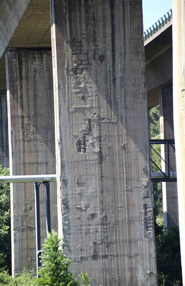 Fotos del estado de los pilares del viaducto de Somonte en la Y asturiana