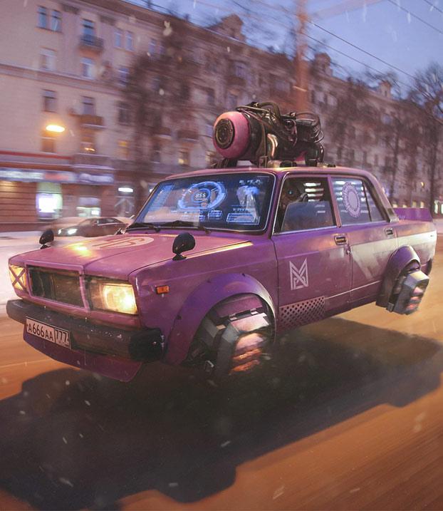 Ilustraciones de Eugene Zubkov sobre cómo se imagina Rusia en el año 2077