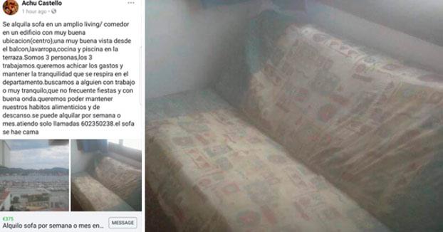 Alquilan un mugriento sofá para vivir en Ibiza por 375 euros al mes
