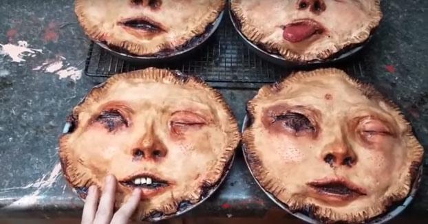 Espeluznantes tartas con forma de rostros humanos