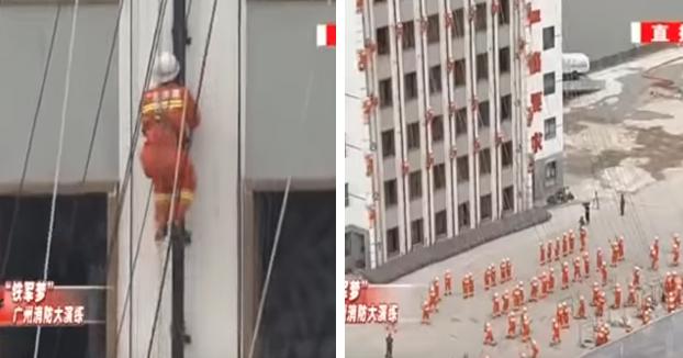 Bomberos realizando pruebas físicas en Guangzhou, China