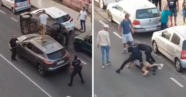 Detención policial en el centro de Arrecife después de que los dos individuos intentasen huir tras el vuelco de su coche