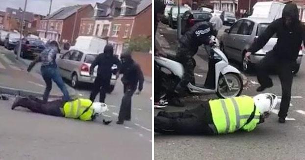Unos matones agreden y roban la moto a un guardia de tráfico de servicio a plena luz del día