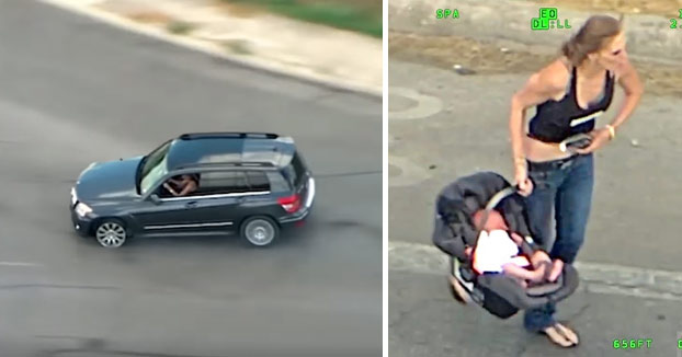 Una mujer escapa de la policía a toda velocidad con su bebé en la parte trasera y acaba chocando