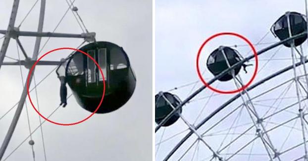 Un chaval se queda colgado por la cabeza al sacar su cuerpo por la cabina de una noria a 40 metros de altura