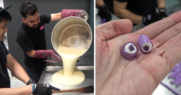 Así es como se hacen los caramelos que tienen un dibujo en el interior