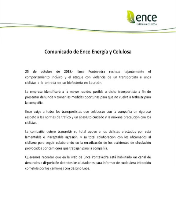 Comunicado ENCE sobre la agresión de un camionero a dos ciclistas en Pontevedra