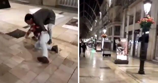 Destrozan la exposición contra el cáncer de calle Larios de Málaga y publican el vídeo en Instagram