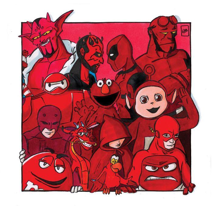 He separado por colores a personajes famosos de películas, series, cómics y videojuegos