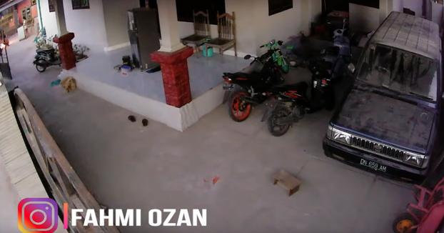 Cámara de seguridad de una casa graba el terremoto de 7,5 en Indonesia y el posterior tsunami