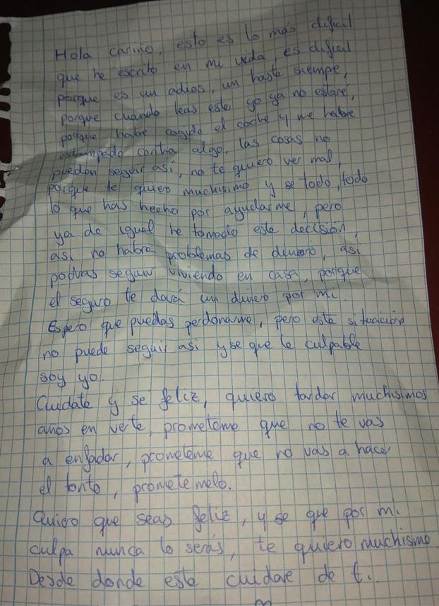 Carta de despedida de una chica ludópata