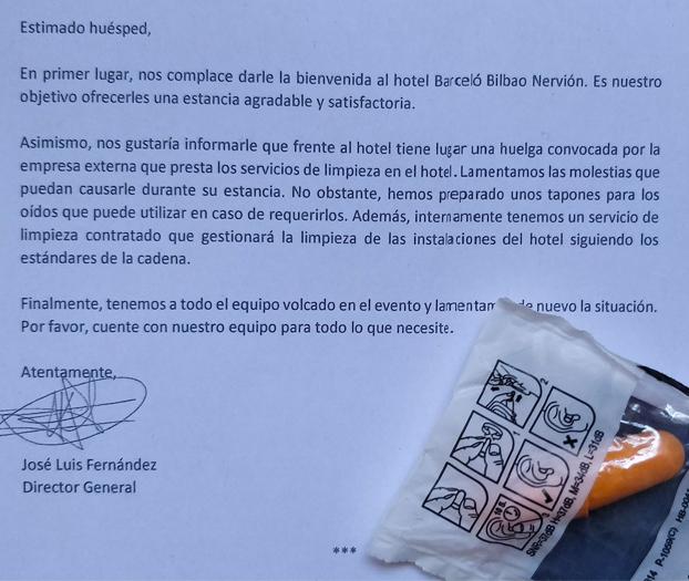 Estoy en Bilbao. Me alojo en el Hotel Barceló Nervión y me he encontrado esta carta de la dirección del hotel en mi habitación