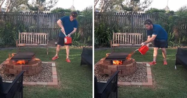 Un ''genio'' intentando avivar el fuego tirando gasolina directamente de la botella