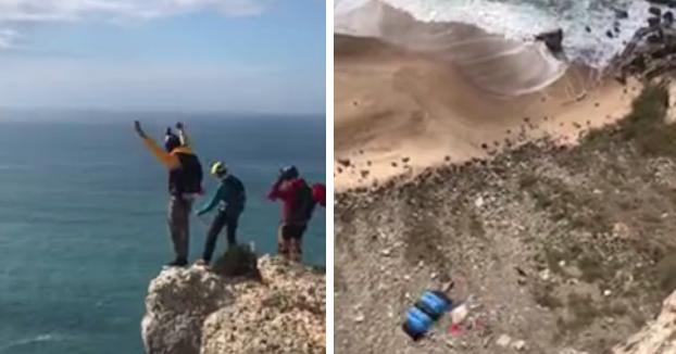 Un turista alemán se estrella contra el suelo cuando hacía salto BASE en Nazaré