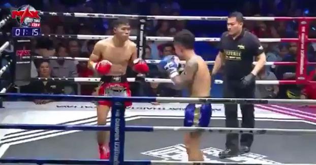 Un luchador de Muay Thai noquea a su rival y al árbitro en una sucesión de golpes