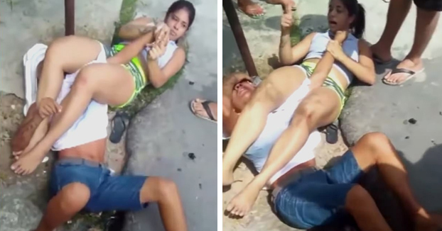 Un ladrón intenta robar a una luchadora de jiu-jitsu y este termina llorando en el suelo