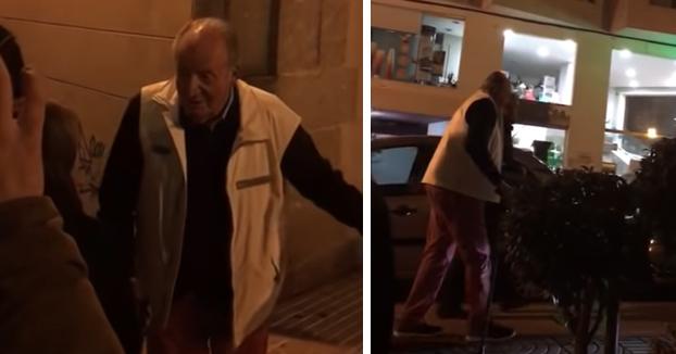 Cachondeo con el rey Juan Carlos cuando salió de cenar de una marisquería de Vigo