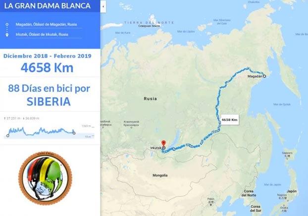 Un ciclista español es encontrado en una carretera de Siberia a -50º C