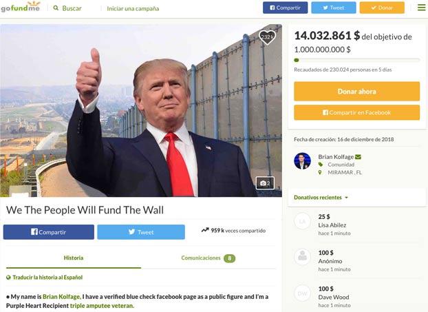 Abre un crowdfunding para levantar el muro de Trump y recauda 14 millones de dólares en 5 días