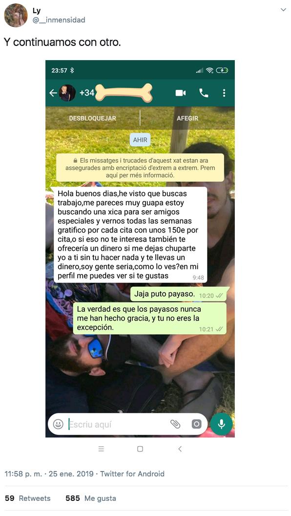Publica un anuncio para trabajar de niñera en Alicante y recibe todo tipo de propuestas. Estas son las capturas de WhatsApp