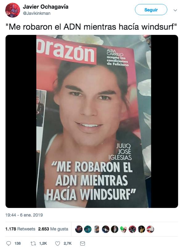 Julio José Iglesias: ''Me robaron el ADN mientras hacía windsurf''