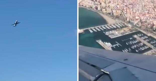 El fuerte viento zarandea un avión de British Airways en Gibraltar