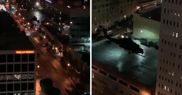 Ejercicios nocturnos de entrenamiento militar con helicópteros en el centro de Los Ángeles
