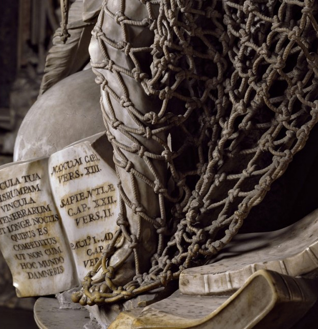 La red es de mármol. ''El desengaño'', célebre obra de Francesco Queirolo, ubicada en la capilla Sansevero de Nápoles