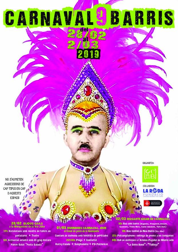 Franco aparece maquillado en el cartel de carnaval de un barrio de Barcelona: ''No estaba muerto, estaba de parranda''