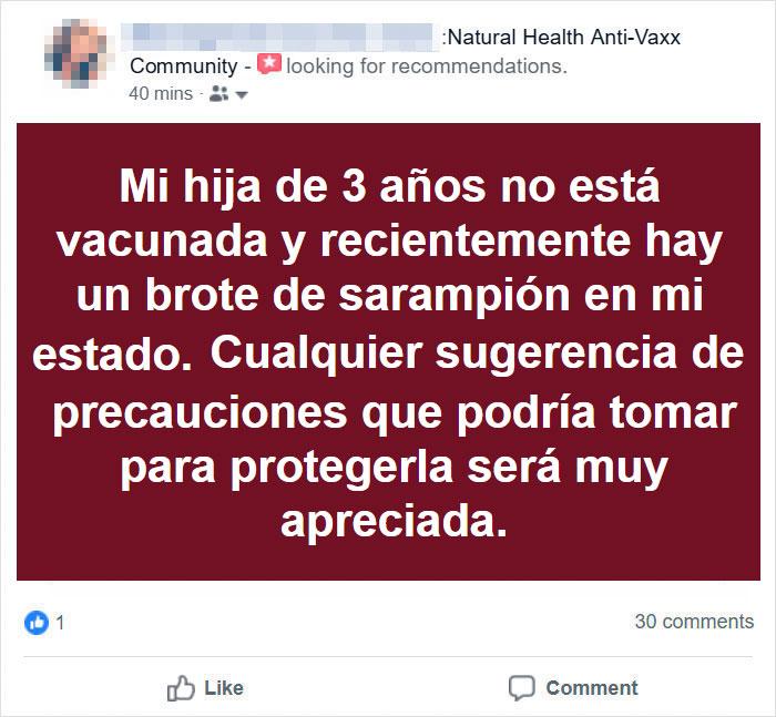 Una madre anti-vacunas pregunta como proteger del sarampión a su hija no vacunada, Internet responde