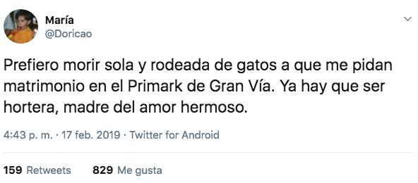 Cachondeo en las redes por una pedida de mano en el Primark de Gran Vía, en Madrid