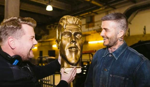 James Corden le gasta una broma pesada a David Beckham con una estatua falsa. Ojo a la reacción del jugador al verla