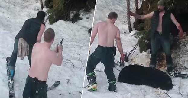 Dos cazadores furtivos, padre e hijo, grabados matando a una osa y a sus crías mientras hibernaban