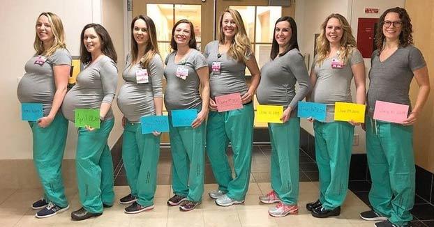 Nueve enfermeras de la sala de partos de un hospital de Estados Unidos están embarazadas al mismo tiempo
