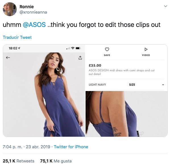 Una tuitera descubre el secreto del encaje perfecto en la ropa de la tienda online ASOS