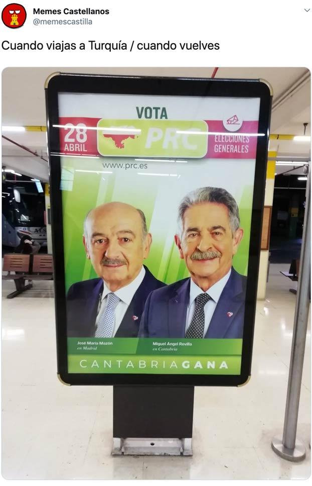 Cachondeo con el cartel electoral de Miguel Ángel Revilla: Cuando viajas a Turquía y cuando vuelves