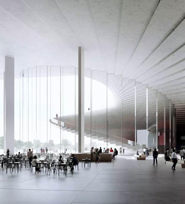 La escalera de caracol que da acceso al techo de la futura Gran Ópera de Shanghai