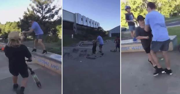 La reacción de un padre contra unos niños que abusaban de su hijo en un skate-park