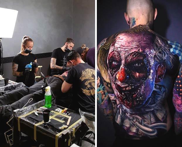 Se hace un tatuaje de un payaso terrorífico en la espalda que parece que cobra vida cuando se mueve