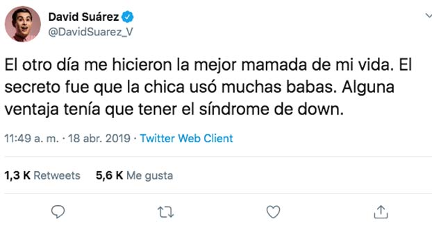 Indignación por un tuit del cómico David Suárez sobre el Síndrome de Down